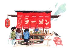 Lovely Illustrations of Food in Japan by Justine Wong #illustrazione #cibo #giappone