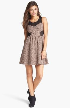 Soprano Illusion Jacquard Fit & Flare Dress (Juniors) available at #Nordstrom #BpNordstrom