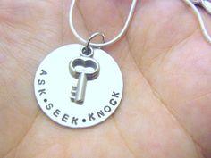 Custom ASK SEEK KNOCK Hand Stamped Sterling Silver by eagerhands, $26.00