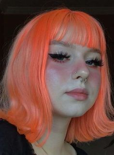 Awesome Pink Medium Haircuts with Bangs and Flipped Ends in 2020 Medium Scene Hair, Curly Scene Hair, Short Scene Hair, Indie Scene Hair, Medium Hair Cuts, Medium Hair Styles, Curly Hair Styles, Scene Bangs, Braided Hairstyles Updo