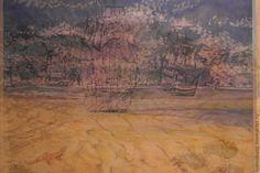 Купить Мираж - желтый, песочный цвет, корабль, Пустыня, шелк, шелк натуральный, Батик