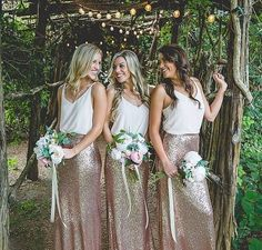 38 Chic And Trendy Bridesmaids' Separates Ideas: rose gold sequin maxi skirts and strap white tops