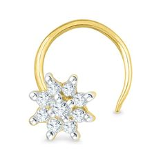 Jpearls 18kt Flower Nose Pin | Gold and Diamond Nose Pins