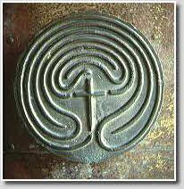 Labyrinth door handle, Church of St. Regnus, Burt, Co. Donegal, Ireland.