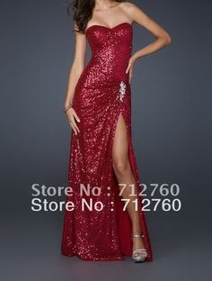 2012  Prom Dress: Sweetheart Strapless Long Red Sequin Prom Dress on AliExpress.com. 5% off $151.05