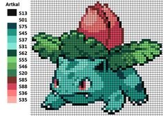 I worked with this pattern to make my Ivysaur. On the left you can see the matching Artkal colors. Ivysaur Bisaknosp Herbizarre Bead Pattern Perler Artkal Hama Nabbi Pokemon Nintendo Unpixable