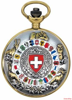Jacques du Manoir P208 is a Swiss product with the 26 cantons. In the mittle we can see the Swiss flag. This clock is a pocket watch. The bottom has a beautiful pattern. Suitable for all watch lovers.