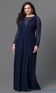 Formal Long Navy Sheer Sleeve Dress