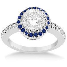 Pave Halo Sapphire & Diamond Engagement Ring Palladium (0.45ct) -Allurez.com