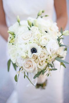 Wedding bouquet, white and green
