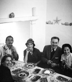 Lillian Disney, Salvador Dali, Mary Sprackling, Walt Disney, Gala Dali (1957, Dalis' home, Portlligat, Spain)