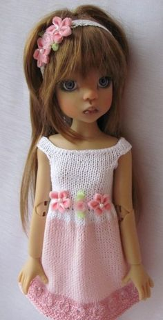 "Hand Knit Doll Dress for BJD MSD Doll 18"" , Kaye Wiggs."