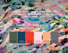 TREND Forecasting for Women, Men, Intimate, Sport Apparel - Mixed the mood of Vintage floral and Sensible shape that create an amazed picture to freshen up the coming Spring Summer 2017 Color 2017, 2017 Colors, Pantone Colours, Fashion Forecasting, Fashion Designer, Ss 2017, 2016 Trends, Mood, Fashion Colours