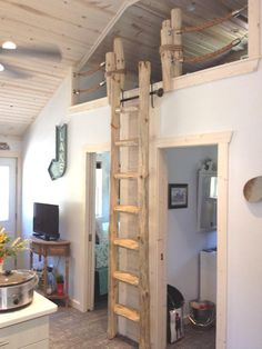Details about Custom made Rustic Pine Loft Library Ladder half-Log,Cabin,Attic,W… - Dachboden Loft Stairs, House Stairs, Cabin Loft, Log Cabin Homes, How To Build A Log Cabin, Library Ladder, Sleeping Loft, Beach Cottage Style, Attic Rooms