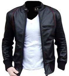 Black real cowhide leather with soft and warm lining inside, jacket with one pocket on chest and two side pockets, Ykk zipper used with quality stitching, it is excellent look with jeans, color variations available Please choose correct size chart