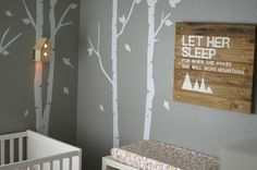 Woodland Nursery for Baby Girl | Project Nursery - love the tree stenciling