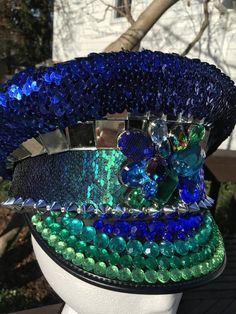 Iriserende flitsende Peacock Festival Beret kleur wijzigen | Etsy