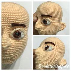 3D shape human amigurumi head crocheted by Sculpturingface with her original patterns WIP