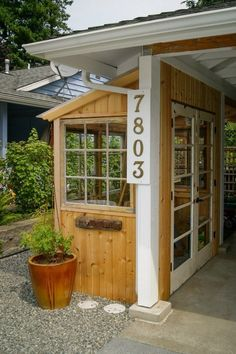 Lean To Greenhouse /shed to carport. Edmonds In Bloom. Stavig, Greencliff Landscape Co. maybe this could be turned into a small sleeping porch! Lean To Greenhouse, Backyard Greenhouse, Greenhouse Ideas, Portable Greenhouse, Diy Garden, Home And Garden, Garden Sheds, Garden Sofa, Balcony Garden