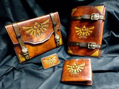 The ultimate Zelda fan package: Leather book cover, tablet case, wallet and belt buckle - By SkinzNhydez.