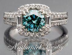 2 CT ROUND CUT BLUE DIAMOND RING 18K WHITE GOLD - Fancy Colored Diamond Rings - Diamond Rings