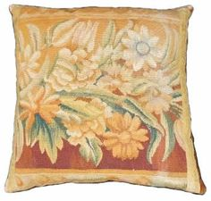 Pillow crafted from Antique Tapestry Fragment Depicting Fruit and Flowers