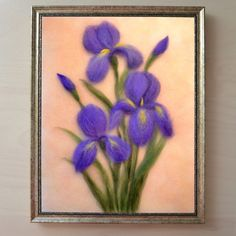 """Wool painting """"Purple irises"""" adds warmth and charm to any home. It also makes a great gift for anyone that loves flowers and nature. Iris Flowers, Felt Flowers, Wet Felting, Needle Felting, Felt Wall Hanging, Felt Pictures, Felted Wool Crafts, Felt Bunny, Wool Embroidery"""