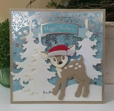 Christmas Deer, Christmas Cards, Santa And Reindeer, Marianne Design, Kids Cards, Bambi, Holidays And Events, Whimsical, Kittens