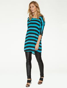With length sleeves, this longline top features a multi-coloured stripe print and a cut-out detail at the shoulders. A curved hem and exposed zip at the back adds further detail to this round neck top. Latest Dress, Long Tops, Stripe Print, Womens Fashion, Sleeves, T Shirt, Shopping, Dresses, Zip
