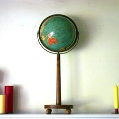 globes make great office decor ~ the height of this makes it great for a desktop