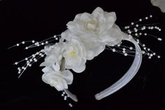 Silver satin hair band covered with white flowers. Decorated with pearl sprays. Very pretty for a wedding flower girl or to attach a veil to the band. Sprays, Hair Band, White Flowers, Special Occasion, Pearls, Trending Outfits, Unique Jewelry, Handmade Gifts, Pretty