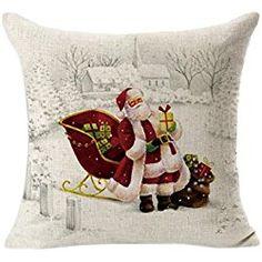 Fheaven Christmas Cotton & Linen Square Throw Flax Pillow Case Decorative Cushion Pillow Cover 45cm45cm (E)