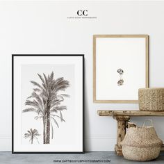 Black and white palm trees in a black frame and a minimalist Sandpiper print are a perfect fit when decorating in neutral colors. Coastal Wall Decor, Beach House Decor, Palm Tree Art, Palm Trees, Traditional Photographs, Coastal Farmhouse, Black And White Abstract, House Art, Minimalist Art