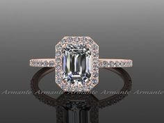 Emerald Cut Moissanite Engagement Ring, Diamond and Moissanite 14K Rose Gold Halo Ring, Wedding Ring,  Right Hand Ring RE0005 $1,155.00 USD