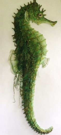 """Di Calder: title unknown [green seahorse]; paint and fabric. """"Incredibly realistic!"""""""