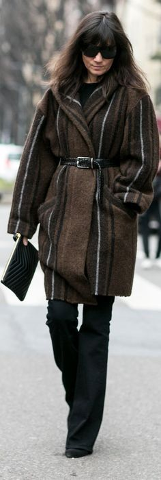 Milan Fashion Week street style: Emmanuelle Alt in a brown striped jacket