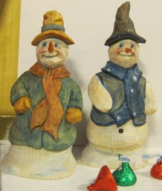 Unique hand carved Snowmen too!