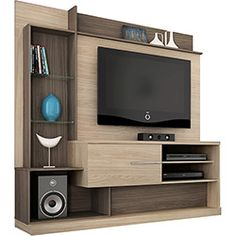 Estante para home theater dimas areia e amêndoa madetec modern tv wall units, tv furniture Living Room Tv Unit Designs, Wall Unit Designs, Tv Stand Designs, Tv Wall Design, Tv Cabinet Design Modern, Tv Wall Ideas Living Room, Design Art, Simple Tv Stand, Diy Tv Stand