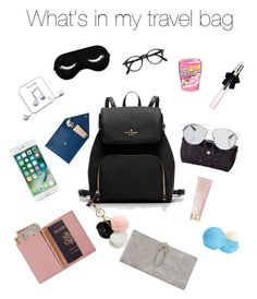 """""""What's In my travel bag"""" by yissel-deus-lopez on Polyvore featuring Royce Leather, GUESS, Happy Plugs, Eos, AERIN, Yves Saint Laurent, Brahmin, Christian Dior and STOW"""