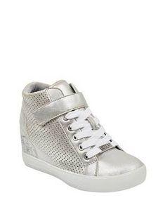 7d046e94ddc0 Decia Hidden Wedge High-Top Sneakers at Guess