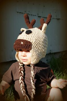CUTEST THING EVER! ....Toddler or Newborn Crochet Moose Hat by makinitmama on Etsy, $22.00