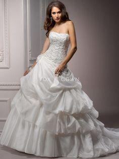 Verschönert Spitze Mieder luxuriöse gefangen-bis Ball-Kleid-Rock mit sank Taille $251.99 Hochzeits http://www.dazukleider.de