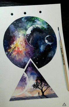 Watercolor Galaxy, Galaxy Painting, Galaxy Art, Watercolor Paintings, Tattoo Watercolor, Space Watercolor, Watercolor Drawing, Art Galaxie, Art Inspo