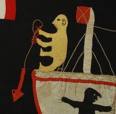 Colonial Asafo Fante Flag - Ghana - #5966 A stunning early to mid 20th century colonial Asafo Fante flag from Ghana - circa 1940 (detail) - Cacique Mask   Colonial Arts