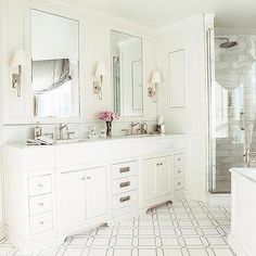 White Bathroom cabinets with marble Countertops - Contemporary - bathroom - MA Allen Interiors Master Bath Vanity, Master Bathroom, White Bathroom Cabinets, White Cabinets, Light Green Bathrooms, White Double Vanity, Bath Vanities, Sinks, Modern Bathtub