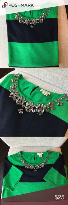 J Crew short sleeved embellished sweater Super cute!  Rugby striped with embellished neckline. In great condition, however last picture shows a tiny spot (not really noticeable but wanted to point it out.). Navy blue and Kelly green. J. Crew Tops