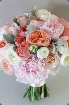 More the colors of your bouquet - more pinks and peaches with little pops of ivory