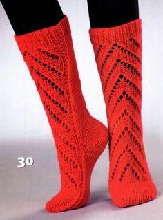 Красные гетры для женщин, вязаные спицами.