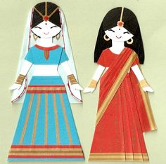 INDIAN GIRL IN SARI AND LEHENGA CHOLI PAPER DOLL by kirakirahoshi, $9.00