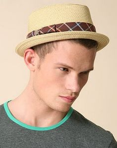 Short brimmed straw fedora hat for men brown band … Straw Fedora 3fab27aa977
